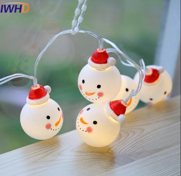 IWHD Romantic Snowman LED Christmas lights Cute Holiday String light Wedding Decoration For Home Lighting For Party Fairy Bar