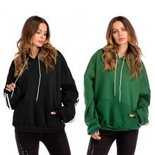 2019 Autumn Winter Sweatshirts Woman Streetwear Solid Color Long Batwing Sleeve Pullovers Oversized Hoodie Vests Sudadera Mujer(China)