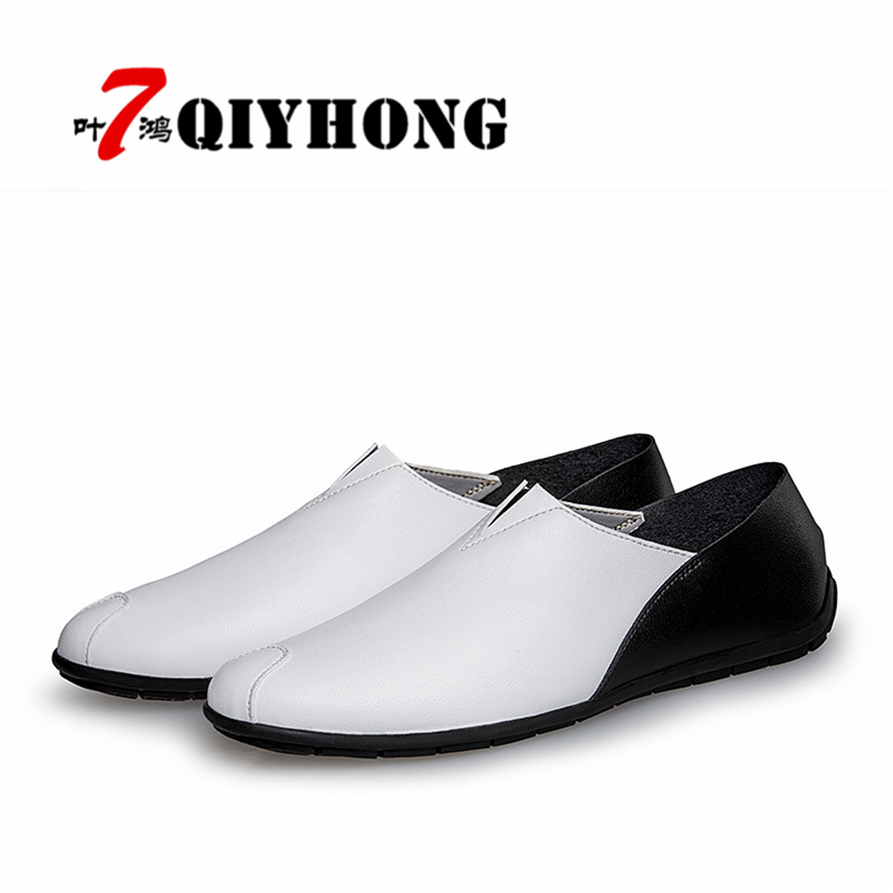 2018 High Quality Genuine Leather Men Shoes Soft Moccasins Fashion QIYHONG Brand Men Flats Comfy Casual Driving shoes Sapatos