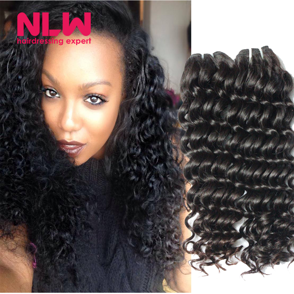 Black Women Cheap Brazilian Curly Weave Real Human Virgin Hair 3 Bundles  Deep Wave Hair Weaving Free Shipping Wet and Wavy Full 72945ca4d