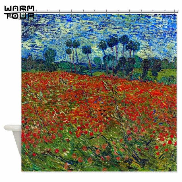 Warm Tour Van Gogh Poppy Field Decorative Shower Curtain Polyester ...