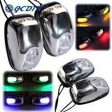 QCDIN 2 sztuk samochodów LED światła szyby podkładka oczy lampa LED wycieraczki dysza do rozpylania wody wylewka wycieraczki oczu Car Styling