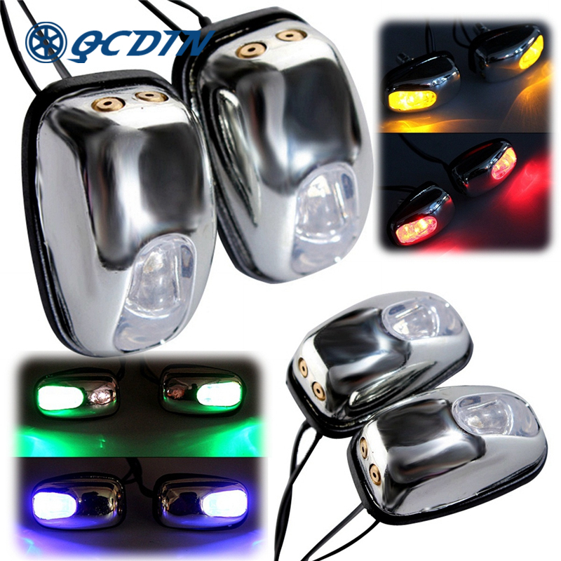QCDIN 2Pcs Car LED Lights Windshield Washer Eyes LED Lamp Wiper Jet Water Spray Nozzle Spout Wiper Washer Eye Car Styling