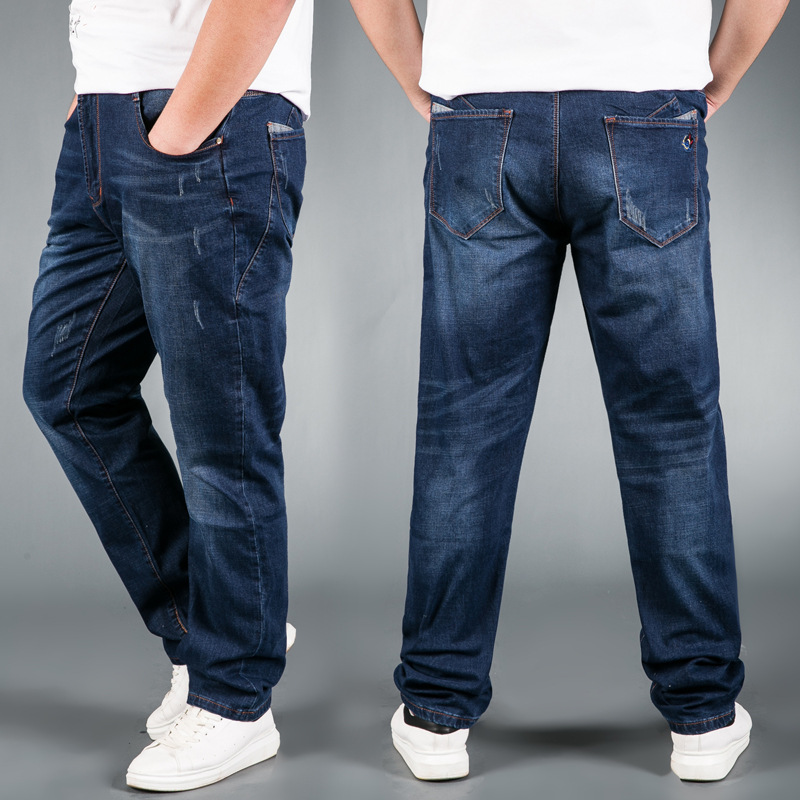 Jeans Mens Brand Stretch Blue Denim Jeans Fashion For Men Big And Tall Trousers Pants Size 33 34