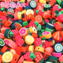 50 pçs 10mm cor misturada contas de frutas contas de argila de polímero spacer argila solta contas para colar diy pulseira acessórios
