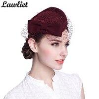 Cute Bow Womens Veil Netting 100% Wool Felt Pillbox Cocktail Hats Dress Winter Hat Royal Ascot Ladies Hats for Wedding Event