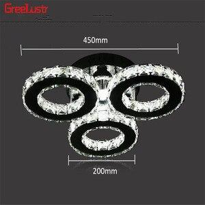 Image 5 - 5 halka kristal avizeler Led tavan ayna paslanmaz çelik parlaklık Cristal mutfak çalışma Luminarias Para Teto armatürleri