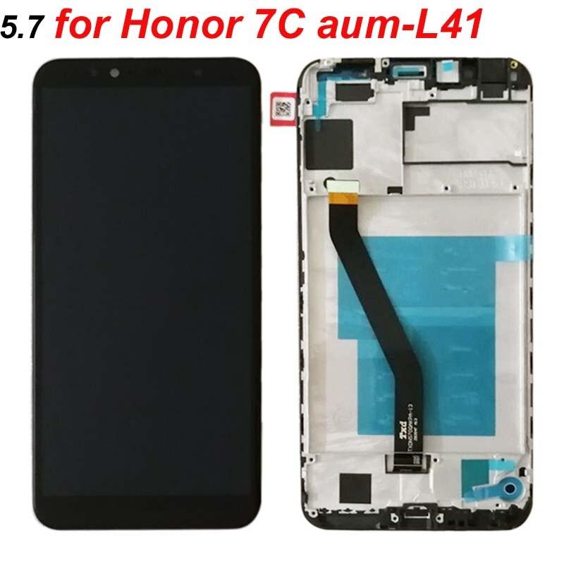 HTB17m9gm8jTBKNjSZFNq6ysFXXas Original 5.7 inch for Huawei Honor 7C aum-L41 Aum-L41 LCD Display Touch Screen Digitizer Assembly For Huawei ATU LX1 / L21+Frame