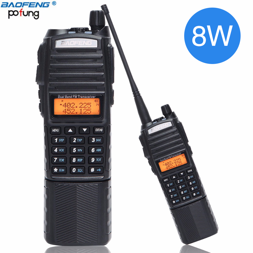 Baofeng UV 82 Plus Walkie Talkie 8W Powerful 3800mAh DC Connector Battery UV82 Dual PTT Band