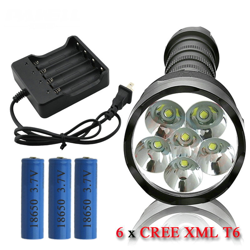 6T6 powerful led flashlight torch CREE XML T6 led lamp waterproof 18650 rechargeable battery 3t6 led flashlight cree xml 5mode lamp waterproof lanterna tactical denfense torch with rechargeable 3x18650 battery and charger