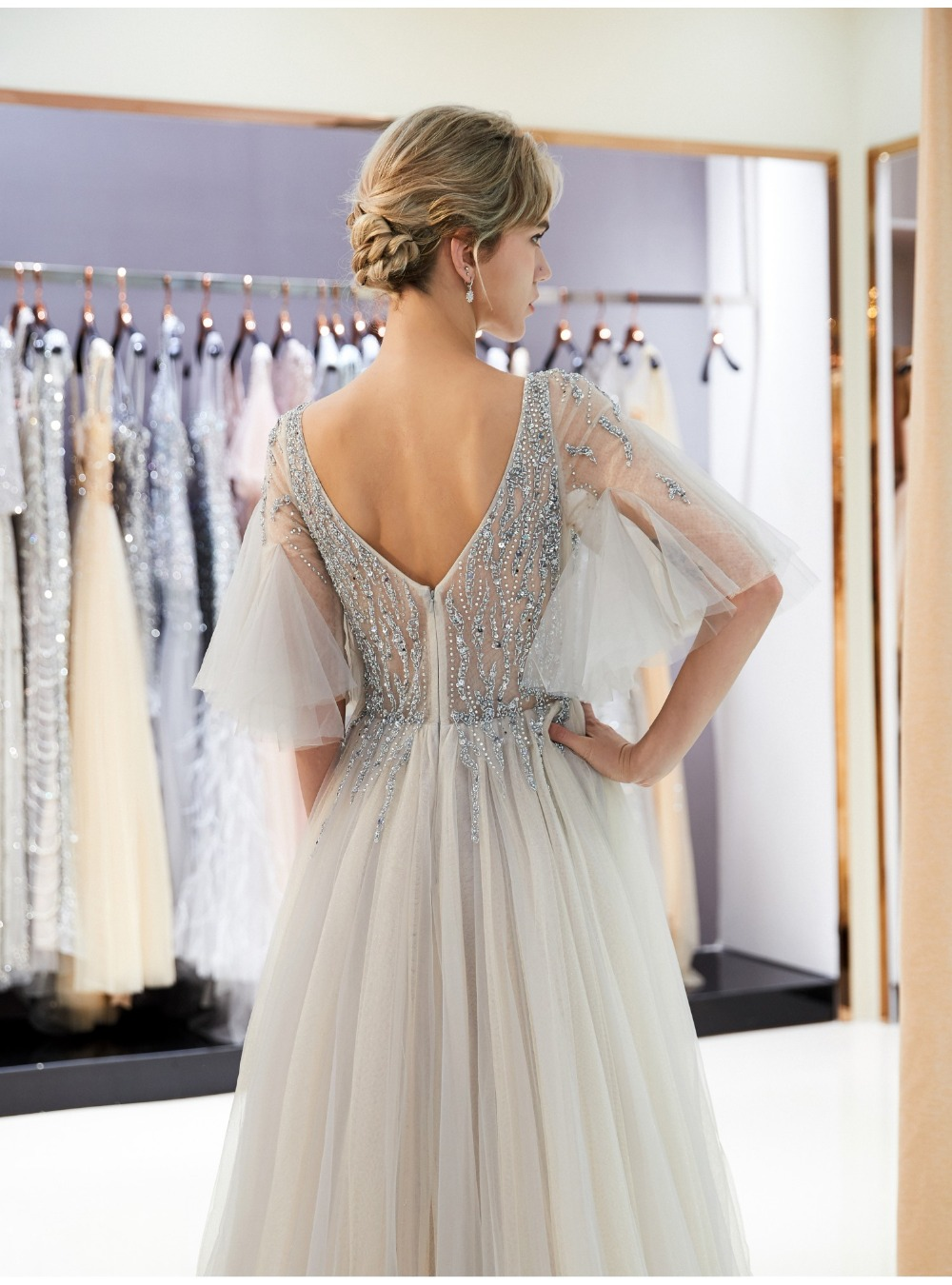 9aa448ec9e63e Erosebridal Illusion Bodice Prom Dress 2018 Long Sext Front Split A Line  Formal Women Evening Wear with Sweep Train