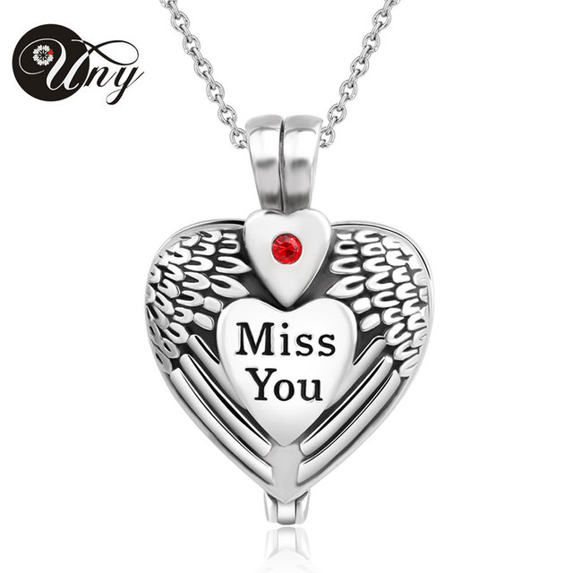 "UNY Hot sale! Stainless steel  heart cremation pendant jewelry funeral urn ashes pendant ""MISS YOU"", free shipping"