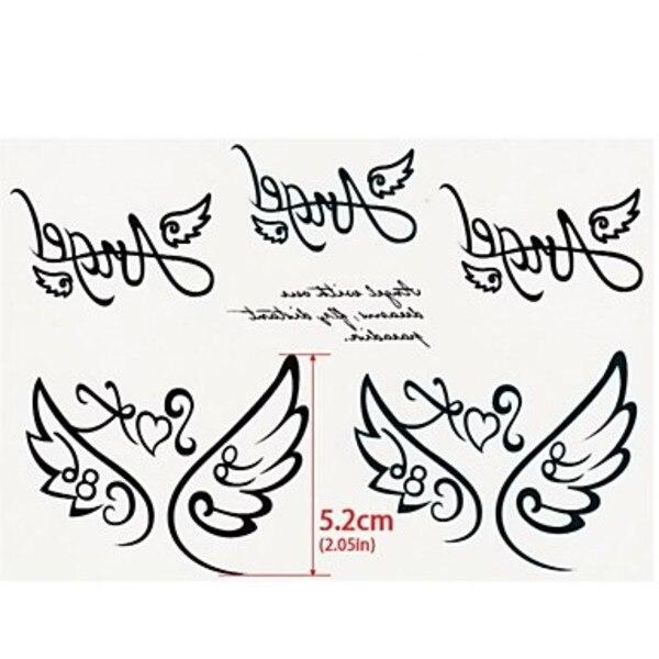 Keywest 1Pc Angel Wings of Love Angel Letters Tattoo Stickers ...