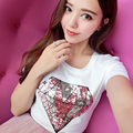 2016 new brand spring summer fashion loose lips sexy 3D tee shirt embroidered diamond sequins T-shirt Girl tee leisure top code