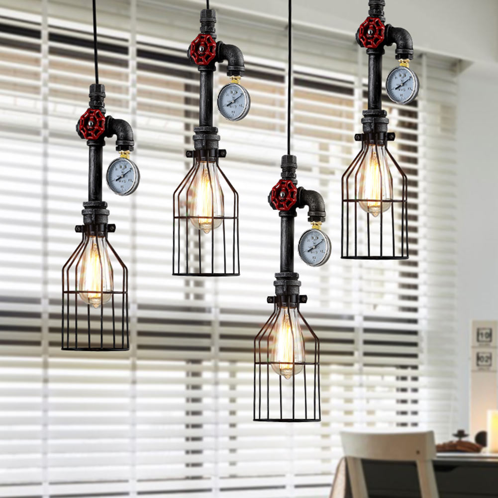 Retro Stempunk Style Hanging Waterpipe Iron Pendant Light Cage Lampshade E27 AC 110V 240V Kitchen Bedroom
