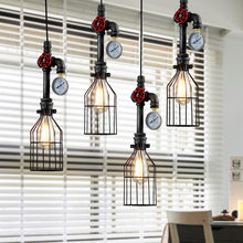 Retro Stempunk Style Hanging Waterpipe Iron Pendant Light Cage Lampshade E27 AC 110V-240V Kitchen Bedroom Bar Pendant Lamp