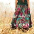 Estilo de la manera del verano mujeres de la alta calidad de algodón y lino falda Retro Bohemia Nacional falda de estampado floral falda de Una Línea de falda