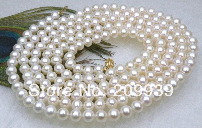 Бесплатная доставка Лидер Продаж Благородный >>>@@ as3346 Великолепная 6.5 7 мм AAA + круглый белый Akoya Жемчужное ожерелье 50 желтый