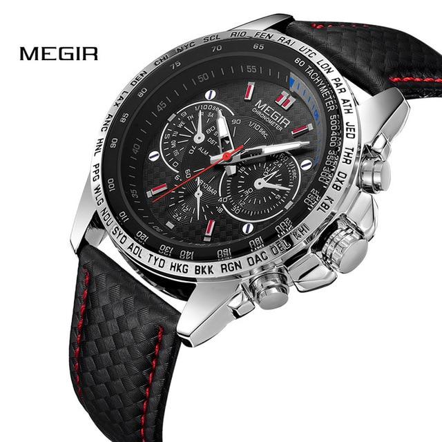 Reloj MEGIR de los hombres relojes superior de la marca de lujo de cuarzo reloj de los hombres de moda Casual luminoso impermeable reloj Relogio Masculino 1010