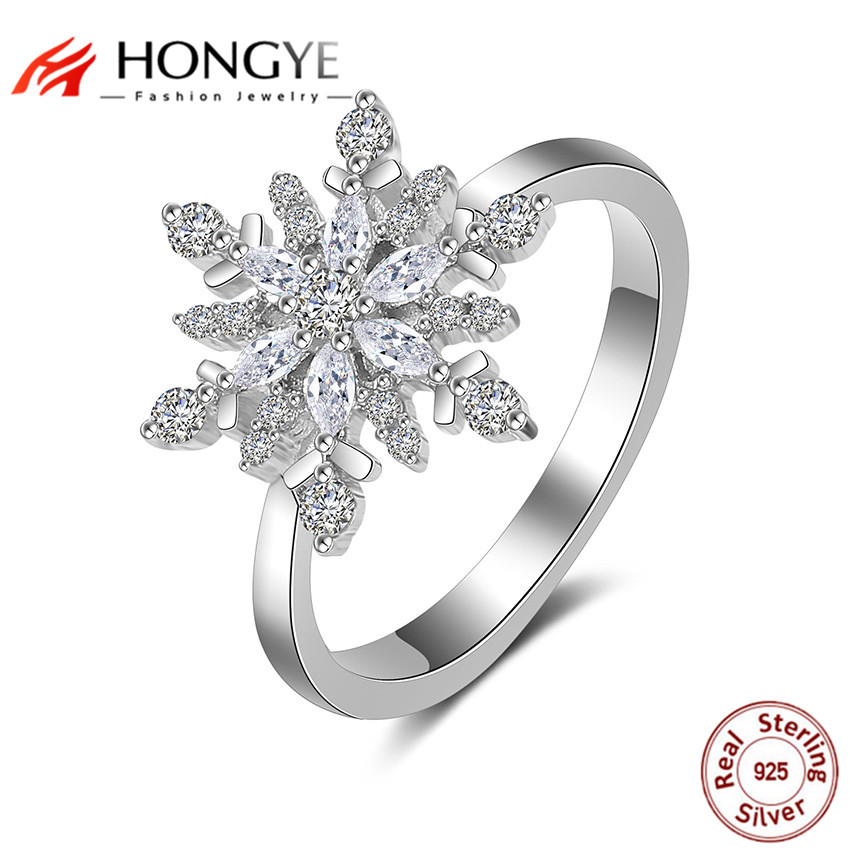 HONGYE White Crystal Snowflake Ring Solid 925 Sterling Silver Jewelry Fashion Ring for Women Christmas Gift On Sale Distribution