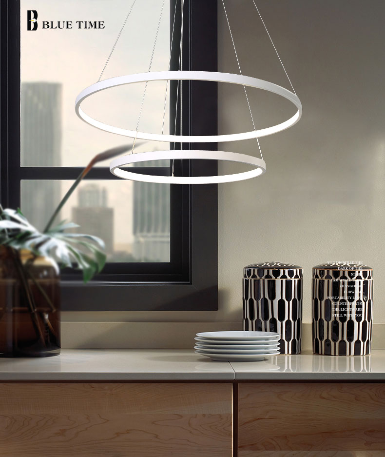 Modern Home LED Ceiling Light For Living room Dining room Kitchen Lustre 6Ring 5Rings Hanging Lamp Ceiling Lamp Lighting Fixture