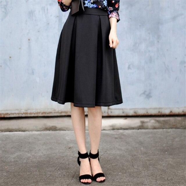 2017 Spring/Summer Flared Skirt Pleated New Casual Fashion Vintage Elegant A Line High Waist Women Knee Length Midi Tutu Skirt