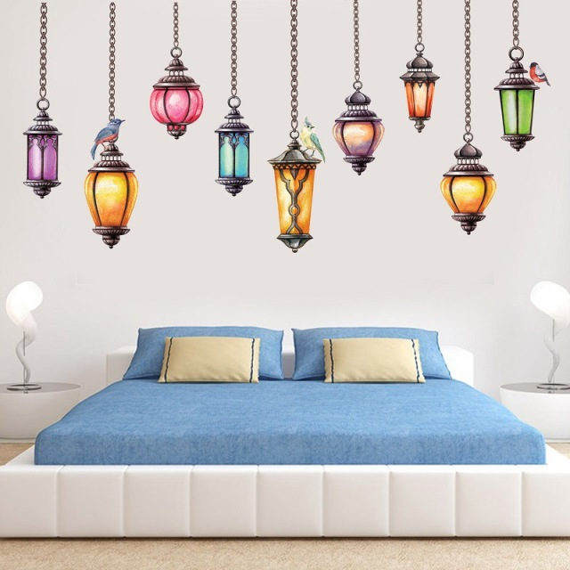 Colorful Retro Lanterns Bedroom Wall Sticker