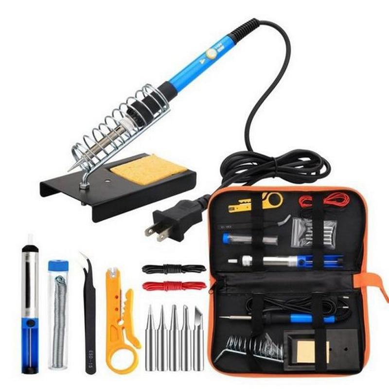 JZL Solder iron Electric irons Kit Adjustable Temperature Soldering iron 5pcs Tips Portable Welding Repair Tool Tweezers wrire