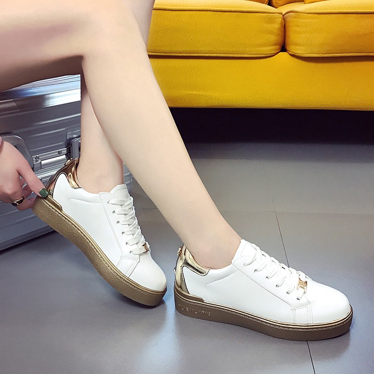 Stars Gold Sliver Women Shoes 2017 Lace Up Casual Shoes Woman Glitter Bling Flats Breathable Classic White Shoe Lady Size gold sliver shoes woman for 2016 new spring glitter bling pointed toe flats women shoes for summer size plus 35 40 xwd1841