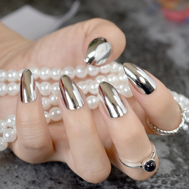 24pcs Silver Metallic Stiletto Nails Medium Full Cover Sharp Mirror Acrylic False Nail Art Tips For