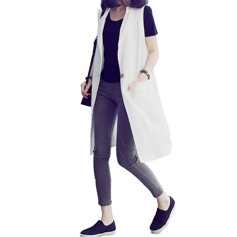 2016 Fashion Cotton Linen Vest Back Split Double Pockets Women's Vests  Summer Casual Loose Long Vest Coat veste femme-in Vests & Waistcoats from  Women's ... - 2016 Fashion Cotton Linen Vest Back Split Double Pockets Women's