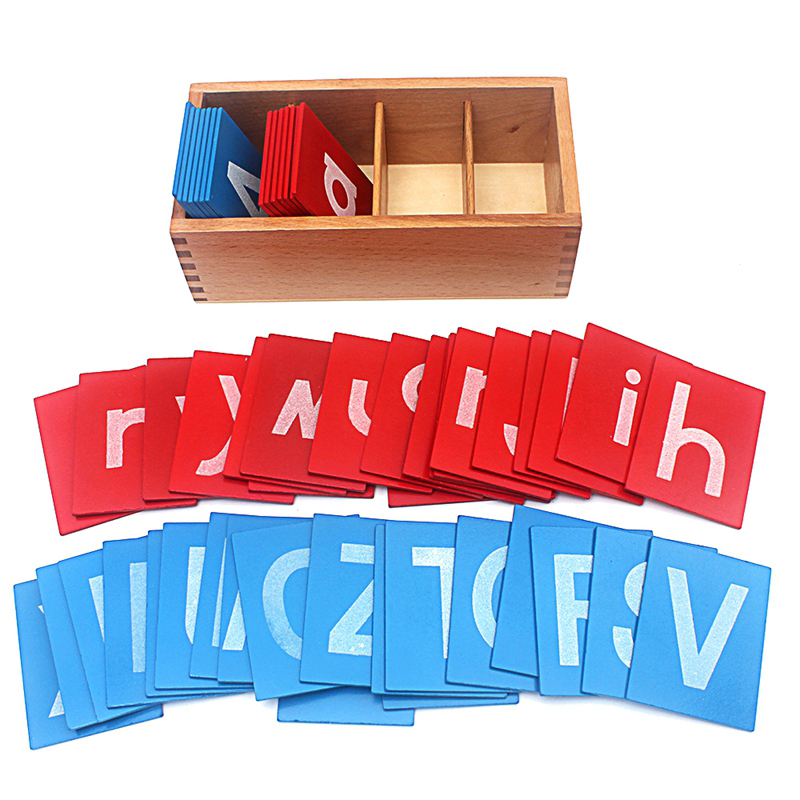 все цены на Baby Toy Montessori Lower and Capital Case Sandpaper Blue Red Letters Wood Box for Early Childhood Preschool Brinquedos Juguetes