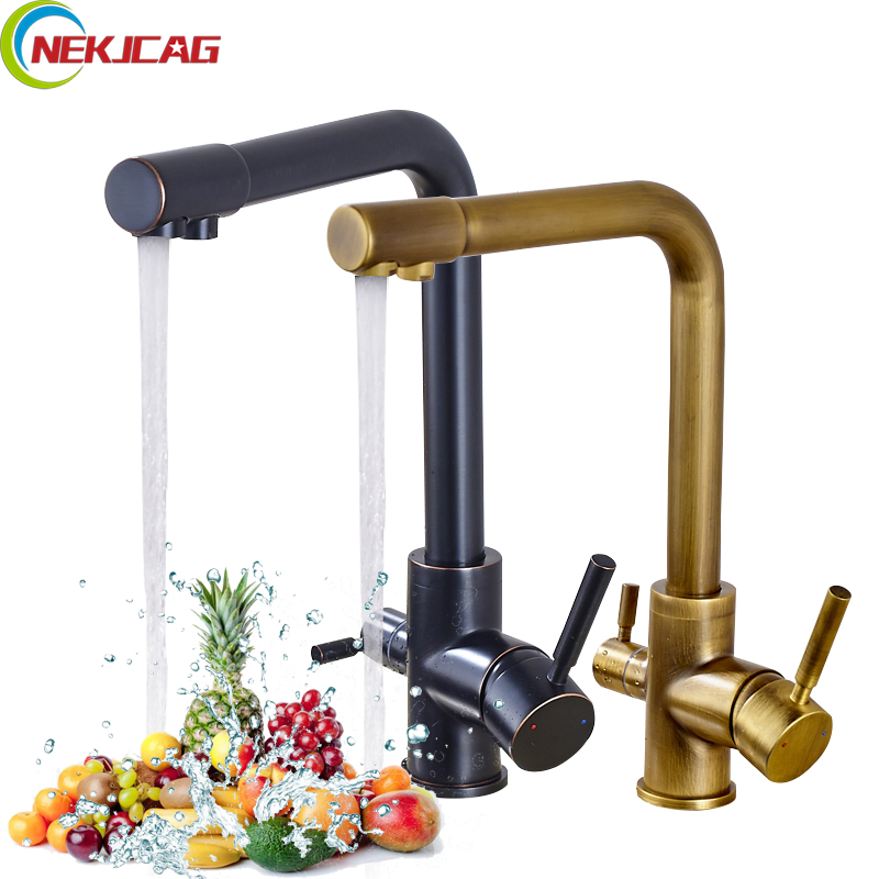 Pure Water Kitchen Faucet Drinking Water Faucet Tap Dual Handles Dual Spout Single Hole Deck Mounted Purification Tap все цены