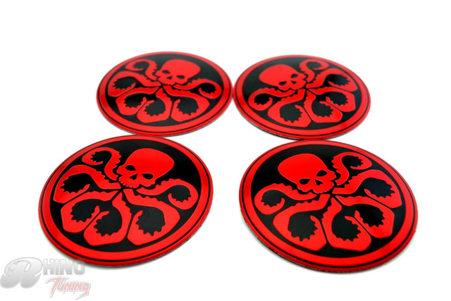 56mm 4pc hail hydra s h i e l d red skull punisher aluminum car wheel center badge sticker emblem for