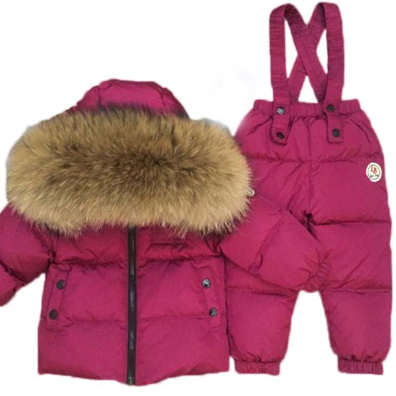 Russia-40 gradi Lucido/lucido del bambino snowsuit Bambini delle ragazze dei ragazzi di inverno giù il vestito giacca cappotto di spessore + tuta abbigliamento per bambini set