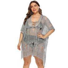 tunic transparent blouse knitted beach dress shirts loose kaftan cover up kimono blusas hollow out tops large size mujer