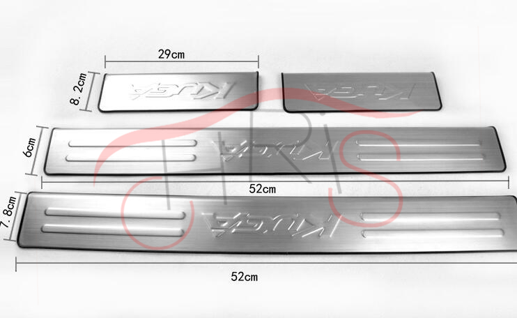 4pcs Car Styling Stainless Steel Door Sill Pscuff Plate Protectors For Ford Kuga Escape 2013-2015 Pedals