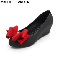 Maggie's Walker Beach Shoes Women Jelly Sandals Summer Fashion Candy colored Resin Wedges Slides with Bows Size 36~39