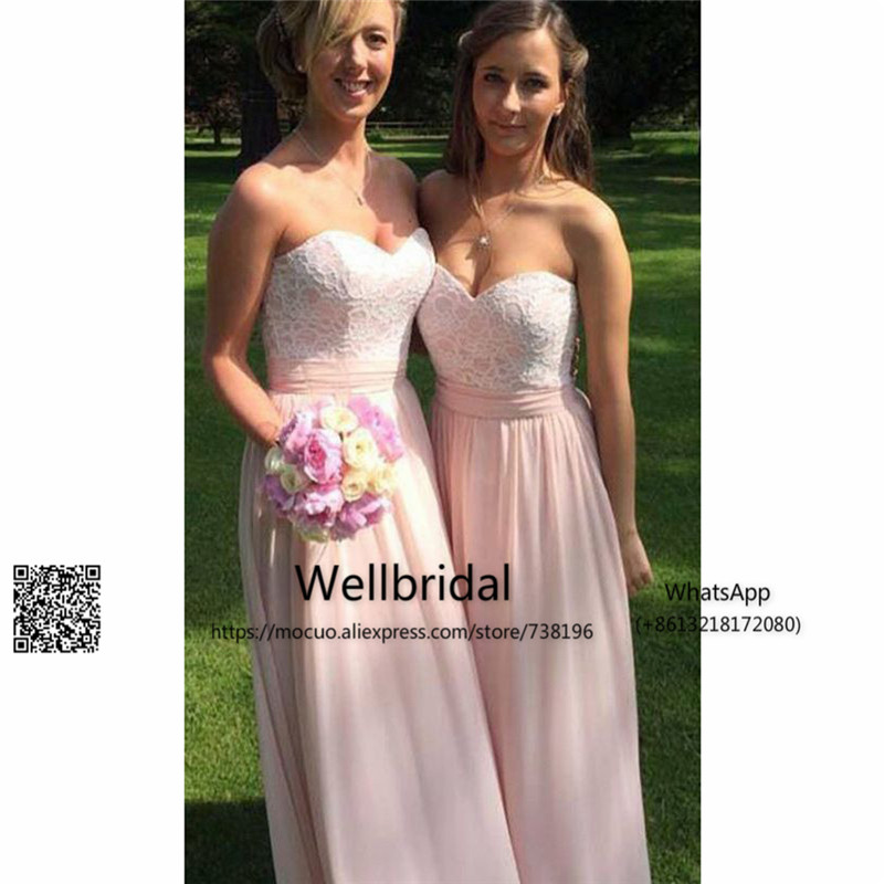 Simple 2017 New Beach   Bridesmaid     Dress   with Laxce Wedding Party   Dress   Strapless Chiffon Maid of Honor   Dress     Bridesmaid     Dresses