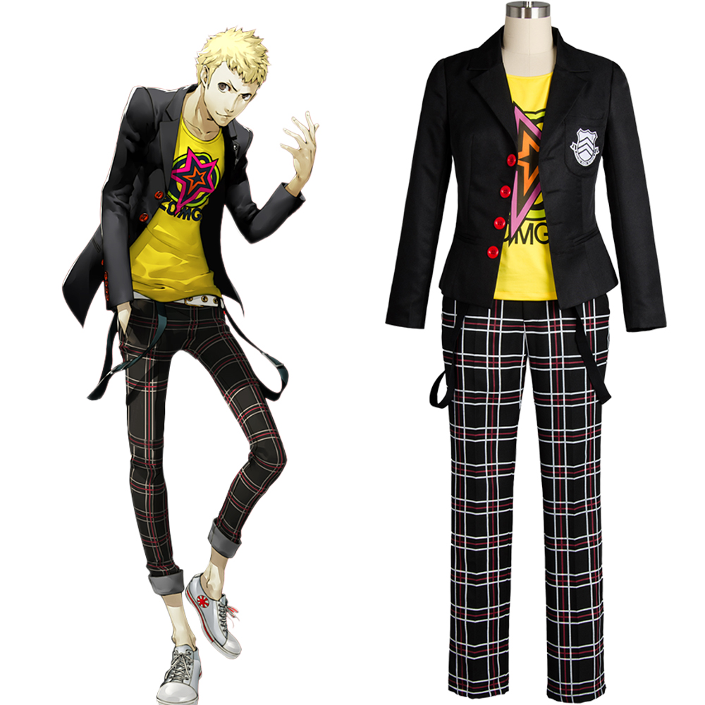 Persona 5 Ryuji Sakamoto Hero Male Cosplay Costume Adult Outfit Black Jacket Shirt Pants Clothing School Uniform
