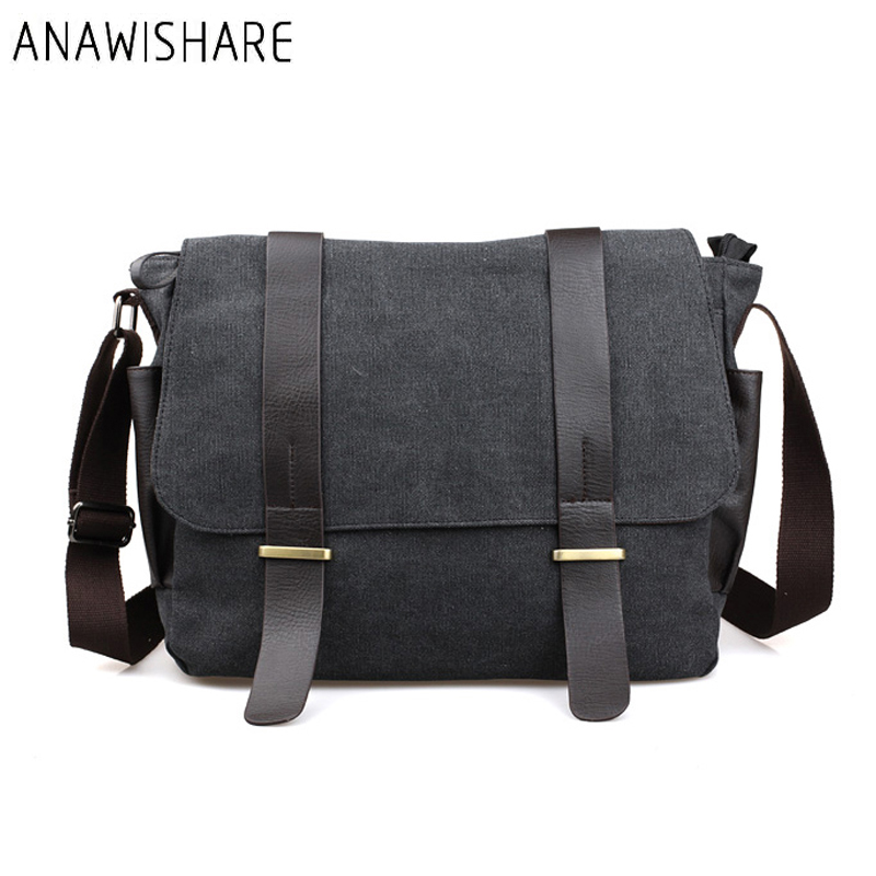 Simple Casual Cross Messenger Bag Men Canvas Korean Crossbody Bags Student Teenager Large Capacity Laptop Bags Black