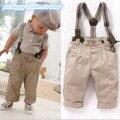 Мальчик малыша одежда свободного покроя официальный джентльмен прокладки топы + брюки + брекеты 3шт наряд комплект 0-3Y