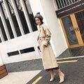 Trincheiras Casaco da mulher Outono Primavera Feminino Casaco Com Cinto Projeto de Longo 2017 Nova quente outwear