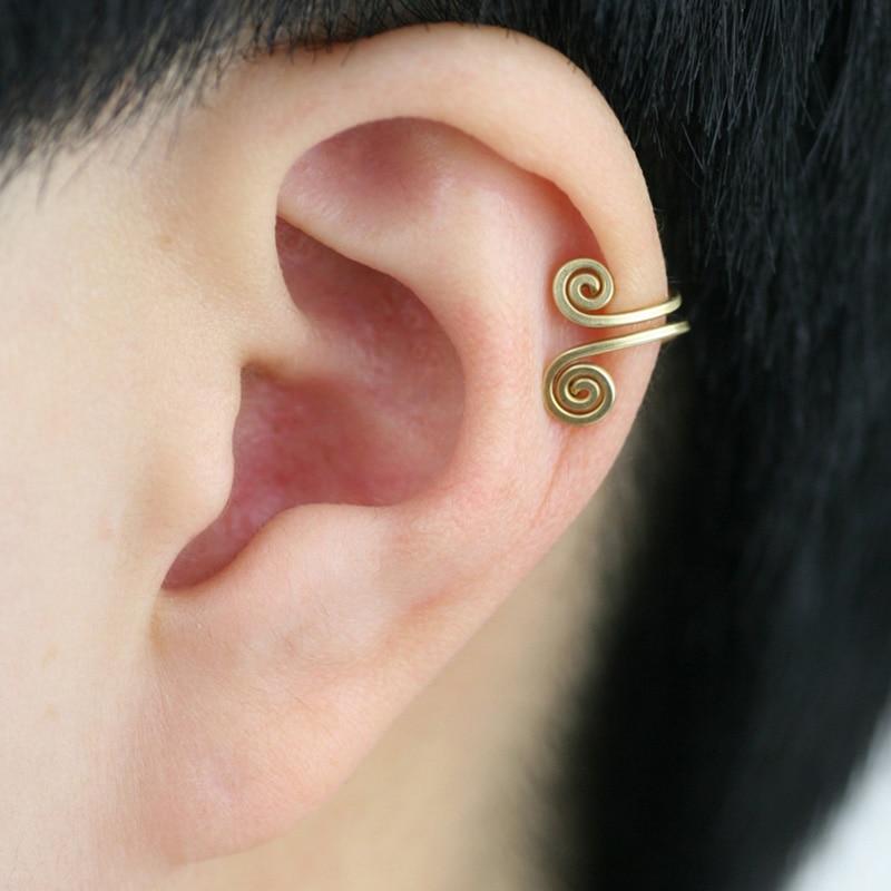 Custom Ear Cuff Fake Piercing Clip Earrings Handmad Gold Wrap