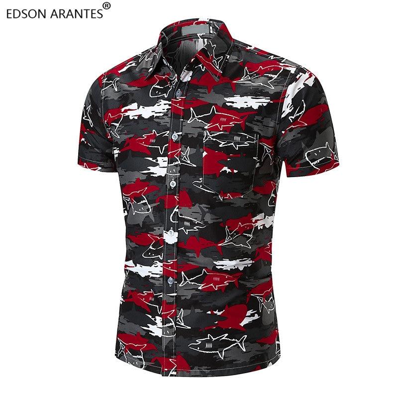 EDSON ARANTES Herren Hawaiian Shirt Sommer Rot Camo Shark Print Strand Shirts Kurzarm Casual Baumwolle Slim Fit Camisa Masculina