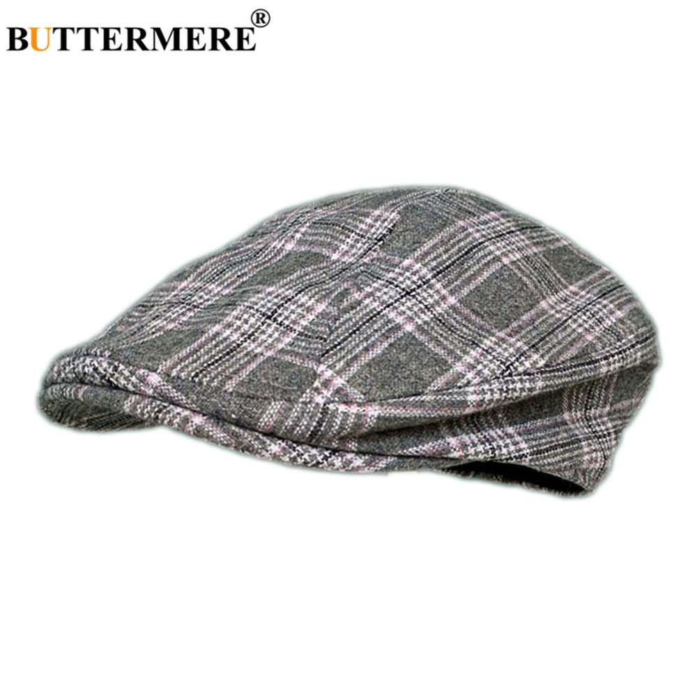 Houndstooth Beret Hat Men Wool Cap Plaid Mens Vintage Flat Cap British Style Male Spring Autumn Duckbill Caps