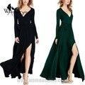 Womensdate novo estilo mulheres primavera clássico longo-sleeved sexy com decote em v longo dress peplum vestidos xl