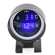 2 функции круглый 12 В/24 В автомобиль грузовик температура воды датчик термометр+ Вольт Напряжение Калибр метр Манометр давления турбо