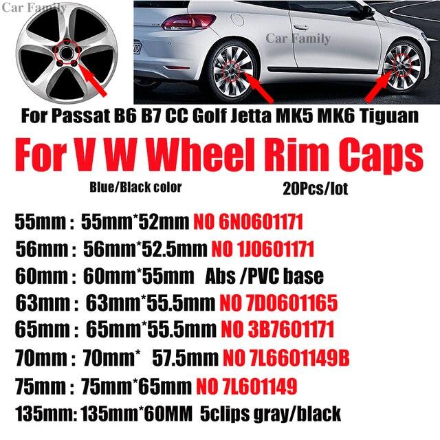 20 pcs 76mm 70mm 65mm 63mm 60mm 56mm 55 milímetros de Carro Do Centro de Roda Hub tampas Para B6 B7 Passat CC Golf MK5 MK6 Tiguan Auto emblema Cobre