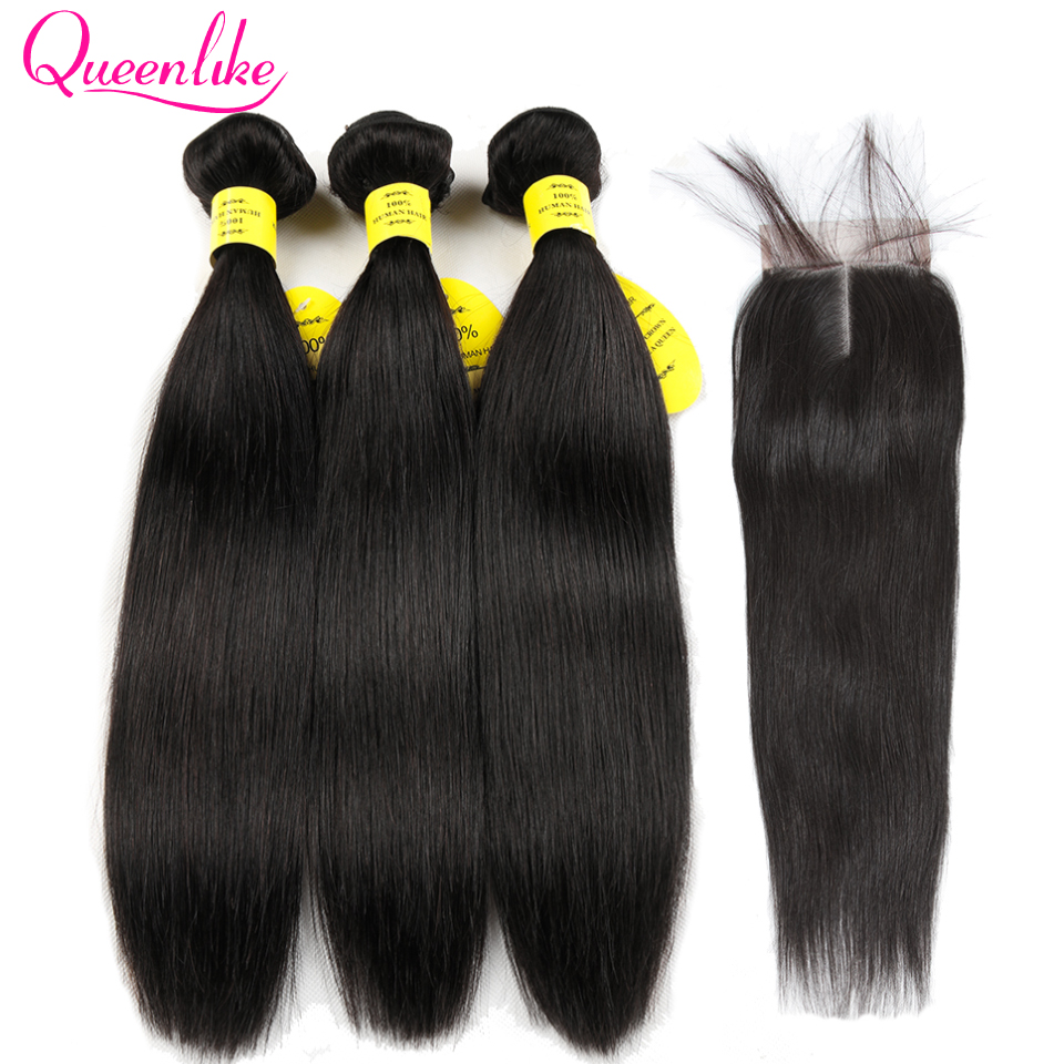 Queenlike 100 Human Hair Weave Bundles With Closure Non Remy Weft 2 3 4 Bundles Brazilian